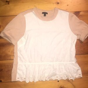 J. Crew short sleeved lace sweater top
